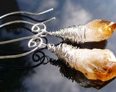 Wire wrapped Citrine rock crystals on sterling silver earrings