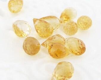 Amazing faceted Citrine drop briolette beads (12).