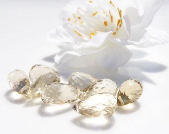 Pucker up - lemon quartz faceted briolettes (8)