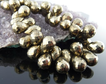 Faceted Pyrite briolettes - 8 stones - sparkly fools gold brio's