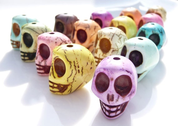 Cotton candy colored gemstone skull beads  (four beads)