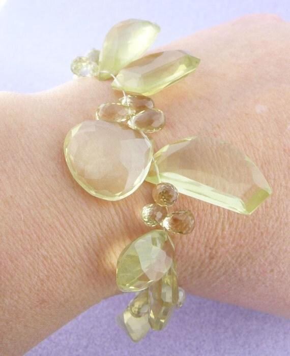 Sale: Decadence defined... faceted lemon quartz bracelet in glorious unique shapes