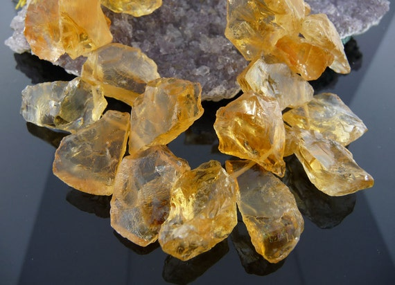 November birthstone - Incredible citrine slice beads... rough, natural and amazing