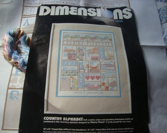 Quiltsy Destash Vintage Country Alphabet Dimensions Cross Stitch Kit