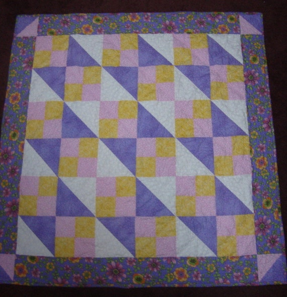 """Baby Girl Time Quilt pink, lavender and yellow 43"""" square"""