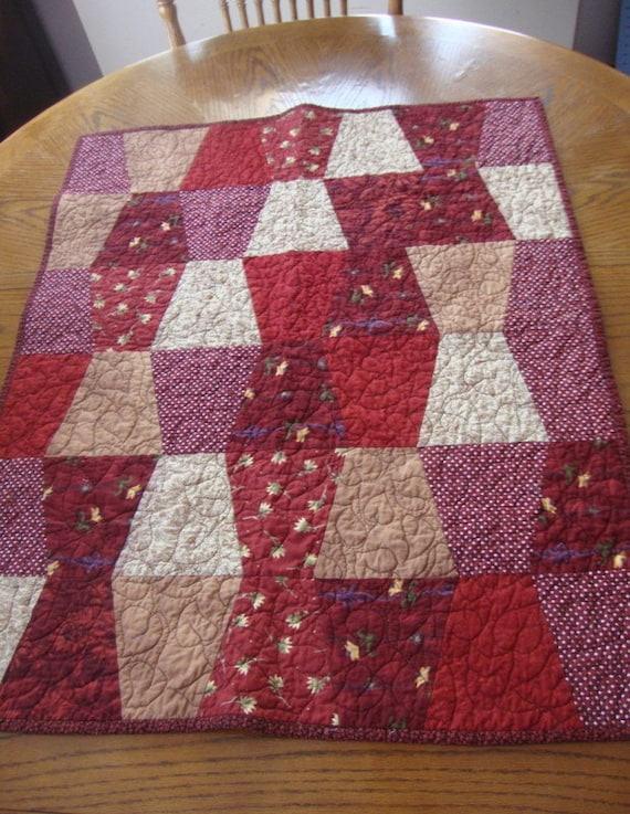 Tumbler Table Topper Lap Quilt Rusty Barn Red and Tan 28 1/2 X 35