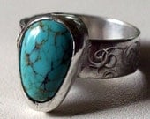Sleeping Beauty Turquoise Ring in sterling silver, Handmade Size 7