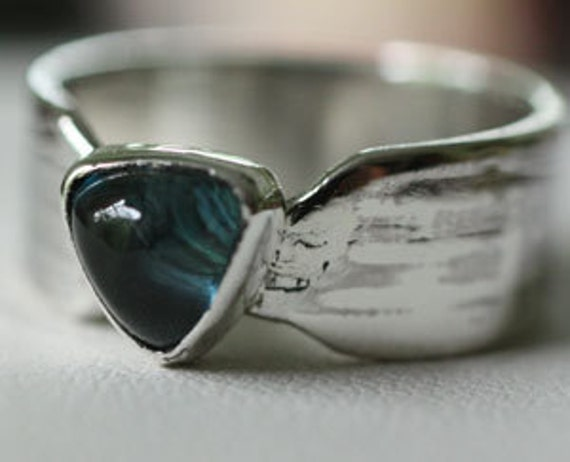 Aquamarine and Sterling silver ring size 6.5