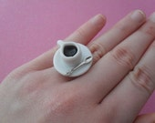 cup of coffee ring // adjustable ring with cup of coffee with spoon, cute