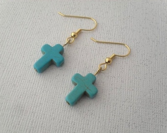 small turquoise cross earrings on gold
