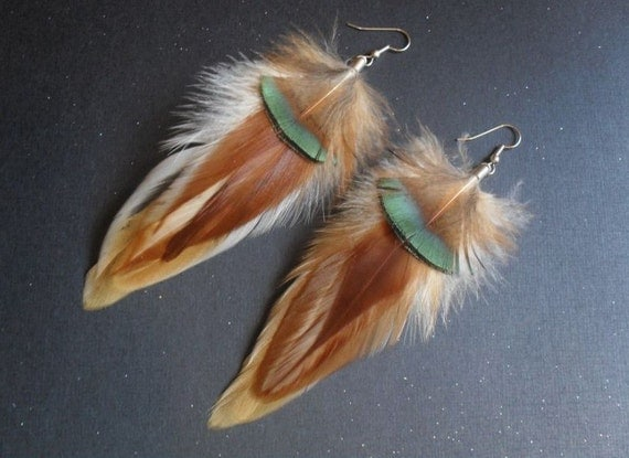 natural feather earrings browns creams whites green black lady am bohemian tribal boho hippie chic