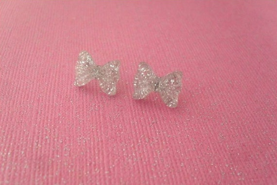 tiny silver glitter bow earrings // kawaii bow stud post earrings