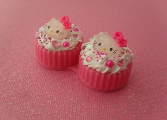Kawaii Contact Lens Case - deco den, hello kitty, pearls, rhinestones, sprinkles, flakes, glittery, flowers