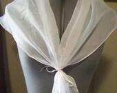 White Sheer Handmade Regency Costume Fichu Scarf Women Size