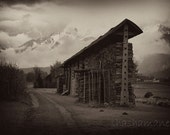 Shelter, Rural, autumnal Slovenian hayrack 5x7 art photo print, mountains, snow