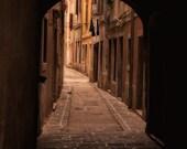 Old time Venetian arch 8x8  Slovenia, art photo print, alley arch