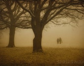 A mid-winter night's dream. Romantic walk in the woodland snow 12x18 print