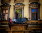 Three windows and a little balcony Cracow, Poland 10x15 Krakow fine art photography print, laundry on balcony
