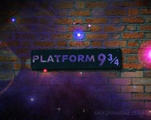 Magically passing through Platform 9 3/4, Harry Potter sign 5x7 fine art photography print Hogwarts Express