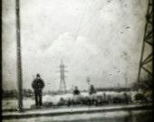 Spooky, ghostly halloween line up 8x8 art photo print black & white