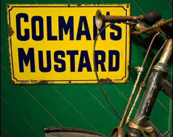 Colman's Mustard and old bicycle 6x6 Fine art photo print, old, rusty
