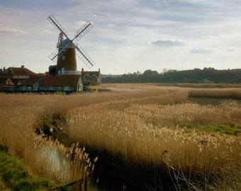 Windmill swirls, rural Norfolk 8x8 art photo print, rustic windmill