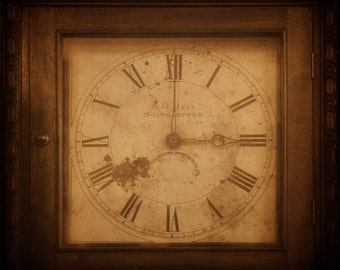 Time is three o' clock, grandfather 5x5 print, sepia vintage square image of aged grandfather clock