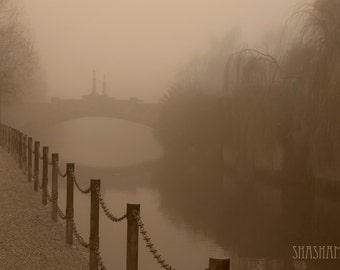 Silent misty morning by the river 8x12 sepia art photo print