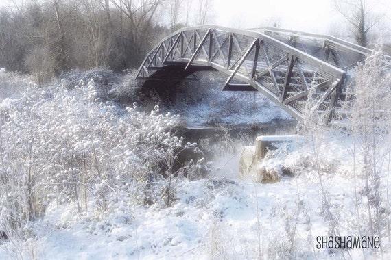 Narnia 10x15 white snowy, bridge of wonderland, art photo print