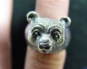 925 sterling silver bear ring
