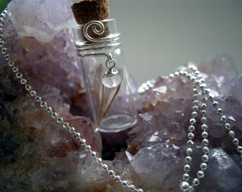 Fairy Wing pendant, glass vial with pink zircon crystal dangle
