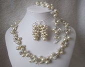 Princess Set wedding necklace, bridal necklace, earrings, swarovski pearl necklace, bracelet, wedding jewelry bridal jewelry pearl necklace