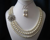 Wedding, bridal jewelry set, triple strain bridal necklace and earring set with swarovski pearls, and rhinestones brooch