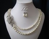 ELISA double strand wedding, bridal jewelry, wedding necklace, bridal necklace, pearl necklace earrings, swarovski pearls rhinestones brooch