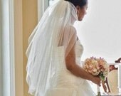 Waist length, 30 inch, 2 tier wedding veil, blusher, bridal veil, classic, soft plain, elegant simple volume light ivory diamond white blush
