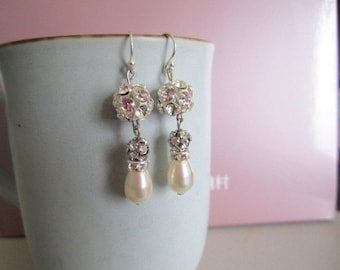 Swarovski pearls and crystal earrings with sterling silver