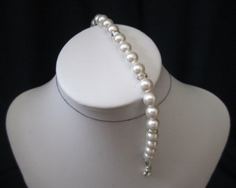 Bridal bracelet with swarovski pearls and rhinestones