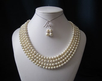 4 strand bridal necklace and earring set with swarovski pearls, and roundelle