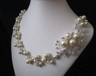 THE JULIE COLLECTION wedding jewelry, bridal jewelry, pearl necklace with swarovski pearls, crystals, and rhinestones brooch