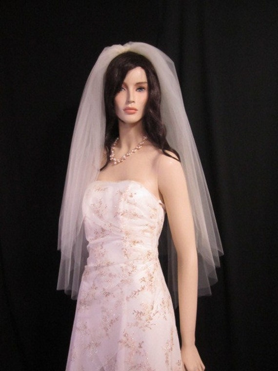 3 tier bridal veil, wedding veil with blusher, 40 inches, circular/drop, extra puffy / volume  - white, diamond white, light ivory or ivory