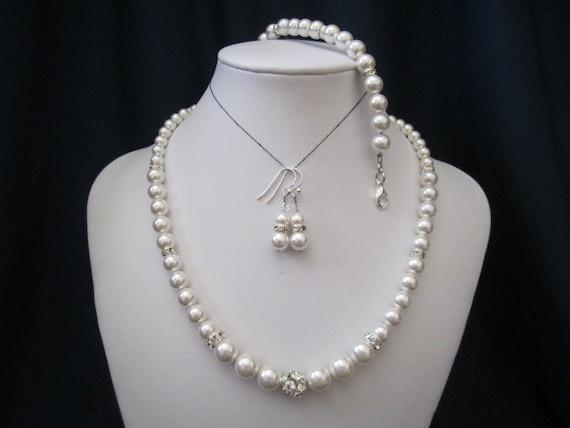 Classic bridal jewelry, wedding jewelry, bridesmaid, wedding necklace, bracelet, earrings, swarovski pearls, rhinestones - SHIPPED IN 1 WEEK