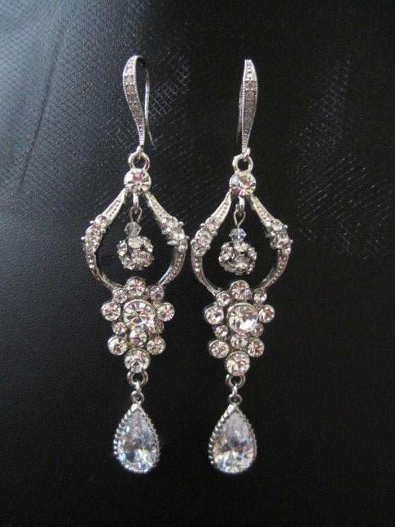 Sparkle filled bridal, wedding, fasion, cubic zirconia, earrings, chandeliar earrings, dangly earrings