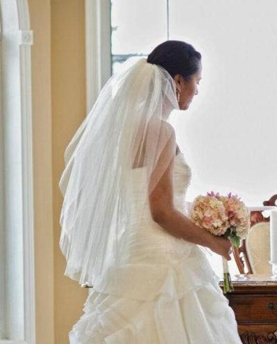 Waist length, 30 inch, 2 tier wedding veil, blusher, bridal veil, classic, soft plain, elegant simple volume light ivory diamond white blush