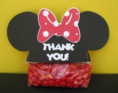 Minnie Ears Treat & Party Favor Thank You Goodie Bags Toppers Set of 12 - MADE TO ORDER