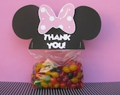 Minnie Mouse Ears Treat & Party Favor Thank You Goodie Bags Toppers Set of 6 - MADE TO ORDER