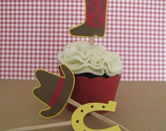 Cowboy Western Theme Cupcake Toppers Set of 12 - MADE TO ORDER