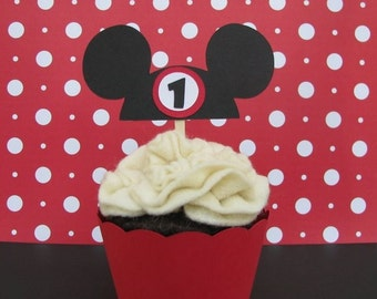 Mickey Hat Cupcake Toppers - Set of 6 - MADE TO ORDER