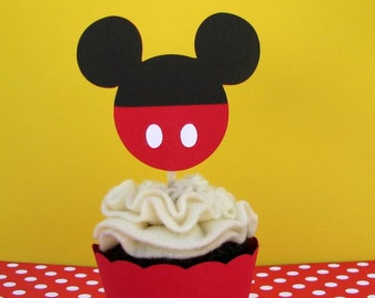 Mickey Shorts Cupcake Toppers - Set of 6 - MADE TO ORDER
