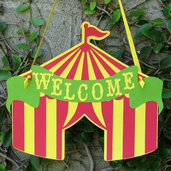 Circus Tent Door Sign, Circus Door Hanger, Welcome Door Sign - MADE TO ORDER