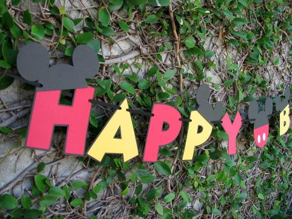 Mickey Mouse Happy Birthday Banner - MADE TO ORDER